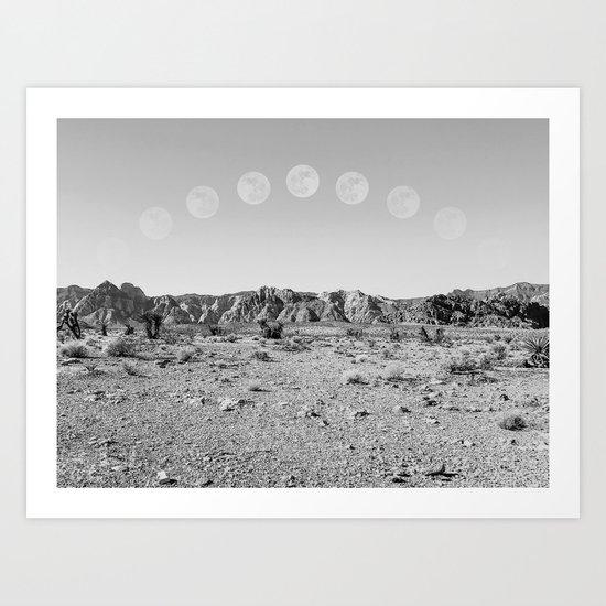 Desert Moon Ridge B&W // Summer Lunar Landscape Teal Sky Red Rock Canyon Rock Climbing Photography by palmtreeprints