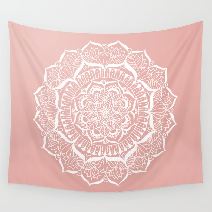 White Flower Mandala on Rose Gold Wall Tapestry
