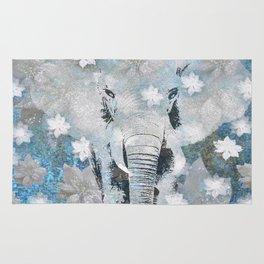 ELEPHANT AND FLOWERS Rug