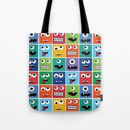 Cute Kids Monster Face Pattern Tote Bag