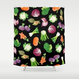 Black veggies pattern | Vegetables illustration pattern Shower Curtain