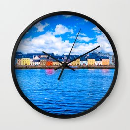 View Of The Long Walk From The Claddagh - Galway Ireland Wall Clock