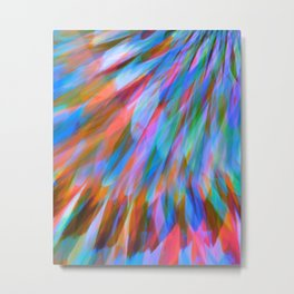 Mixed Light Blue Orange Feather Abstract  Metal Print