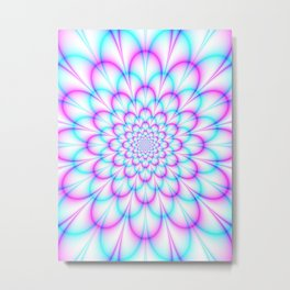 Pastel Chrysanthemum in Pink and Blue Metal Print