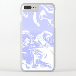 Suminagashi marble pastel blue minimal painting watercolor abstract Clear iPhone Case
