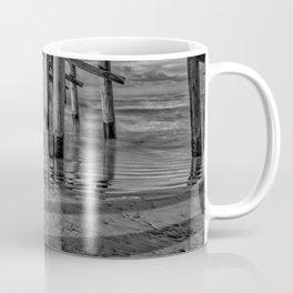 Sunrise Under Newport Pier in Black and White Coffee Mug