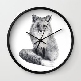 Red fox during winter Wall Clock