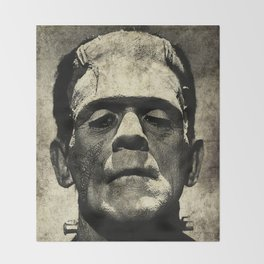 Frankenstein Grunge Throw Blanket
