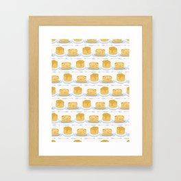Cute vector homemade pancake day breakfast illustration Framed Art Print