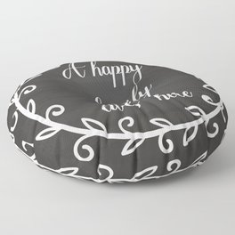A happy family lives here Floor Pillow