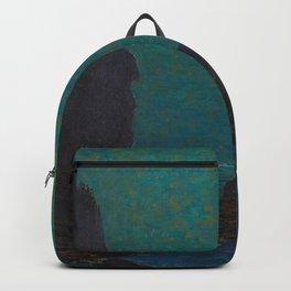 Granville Redmond Catalina Island Coast Under a Moonlit Sky Oil Painting Vintage American Art Backpack
