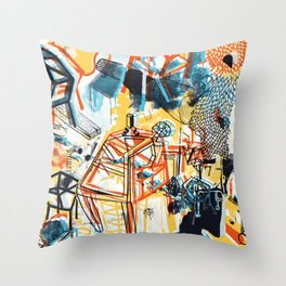 yellowredblueandblack Throw Pillow
