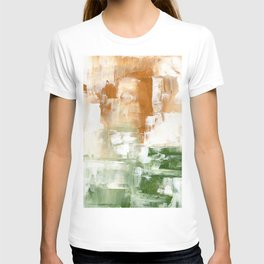 Ejaaz Haniff Abstract Acrylic Palette Knife Painting Olive Green Yellow Ochre: 'Sunny Valley One' T-shirt
