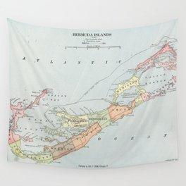 Vintage Map of Bermuda (1901) Wall Tapestry