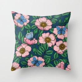 Dog rose and butterflies  Throw Pillow
