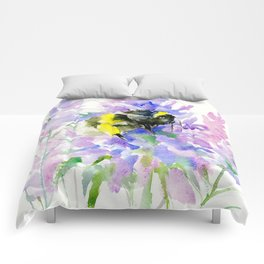 Bumblebee and Lavender Flowers, nature bee honey making decor Comforters