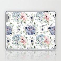 Succulents Blue + Rose Pink on White Laptop & iPad Skin