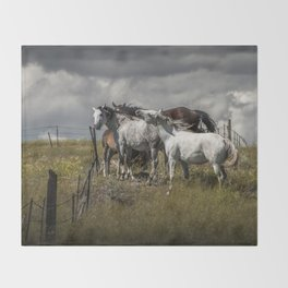 Western Horses by the Pasture Fence under a Cloudy Sky in Montana Throw Blanket