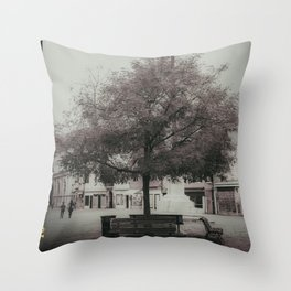 Under the tree campo santa margherita Venice Italy Throw Pillow