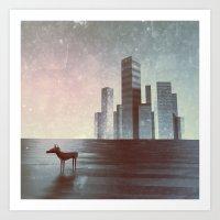 murakami Art Prints featuring LEAVING CITY by Mikio Murakami