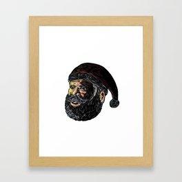 Santa Claus Three-Quarter View Scratchboard Framed Art Print