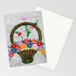 Flower Basket Embroidery Stationery Cards
