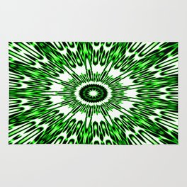 Green White Black Explosion Rug