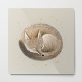 Swift Fox Sleeping Metal Print