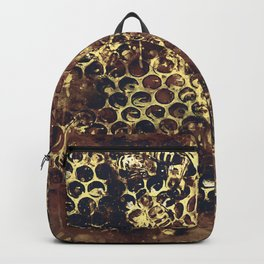 bees fill honeycombs in hive splatter watercolor old brown Backpack