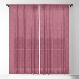 Crimson Red on Burgundy Red Snowflakes Sheer Curtain