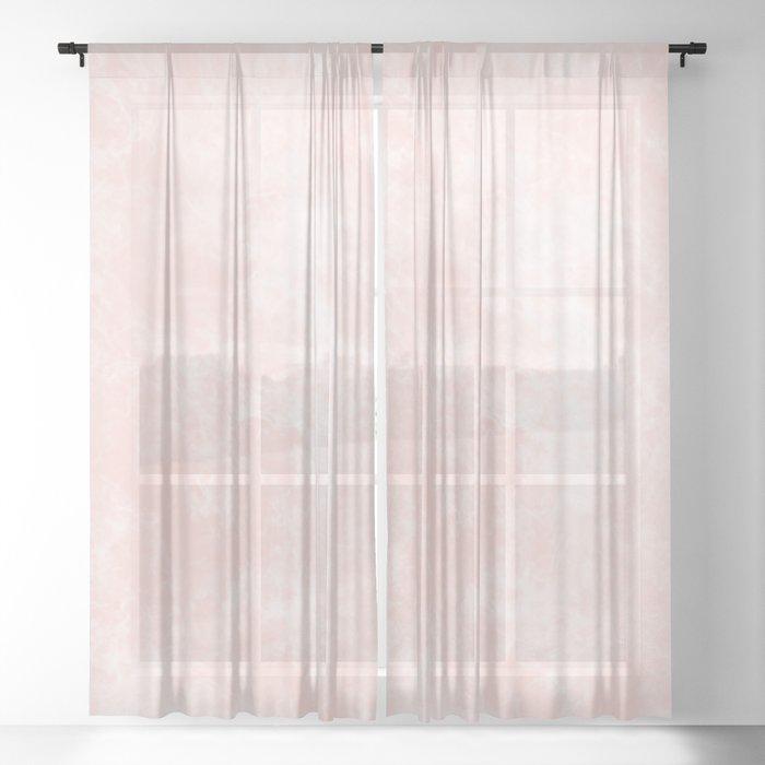 Blush Pink Coral Marble Sheer Curtain