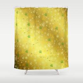 gold Merry christmas text in gold, beautiful reindeer, green fir trees, bright stars festive Shower Curtain