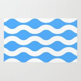 Wavey Lines White & Blue Rug