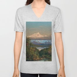 Volcán Cayambe, Ecuador Landscape Painting by Frederic Edwin Church Unisex V-Neck
