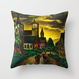 American Masterpiece 'Church on a New England Corner' by Will Schwartz Throw Pillow