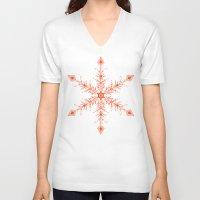 snowflake V-neck T-shirts featuring SnowFlake by Izabela Mikolajczyk