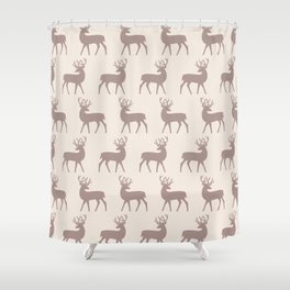 Mid Century Modern Deer Pattern Beige 3 Shower Curtain