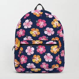 CANDY COLORED HIBISCUS on NAVY Backpack