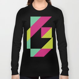 Hot Pink and Neon Chartreuse Color Block Long Sleeve T-shirt