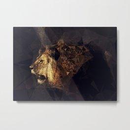 Golden Lion - Low Poly Effect Metal Print