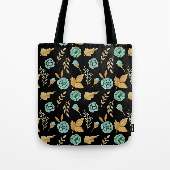 Watercolor floral turqiouse roses print Tote Bag