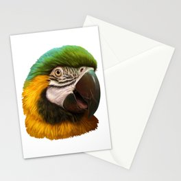 Blue and gold macaw realistic painting Stationery Cards
