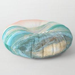 Aqua and Coral, 1 Floor Pillow