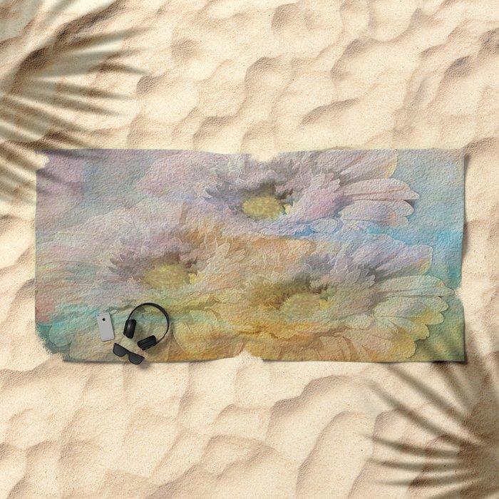 Soft Painted Rainbow Daisies Abstract Beach Towel