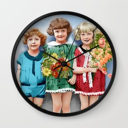 Repainted Vintage Children with Flowers Wall Clock