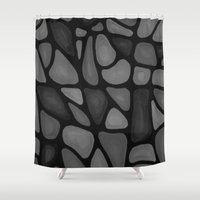 large Shower Curtains featuring Large Blacks by MiLi Studio