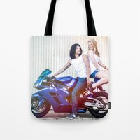 vampire diaries Tote Bags featuring Motorcycle Diaries by Marcus Meisler