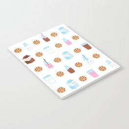 Milk and Cookies Pattern on White Notebook