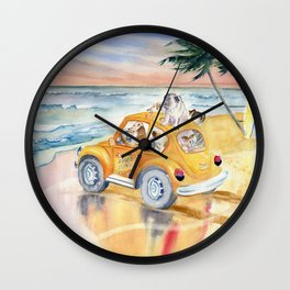 Dogs Family at the beach Wall Clock