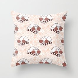 Seamless Raccoon Sleeping In The Wild  Throw Pillow